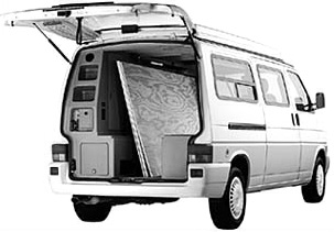Rear view of camper.